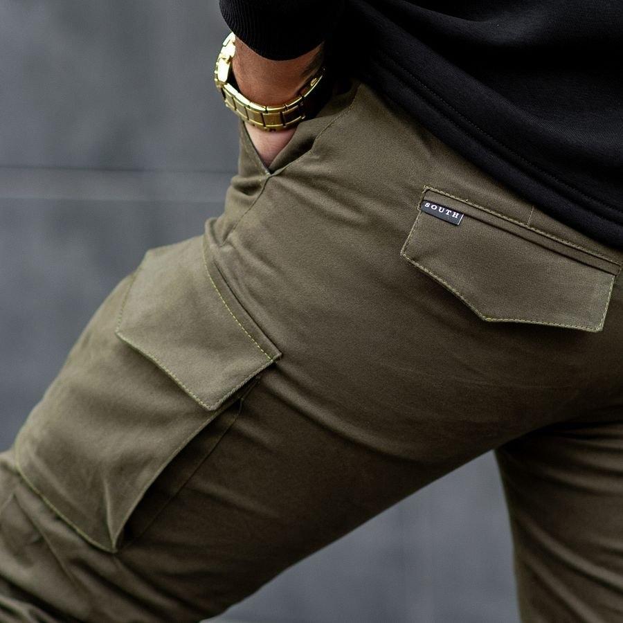 Теплые карго штаны South khaki - фото 1
