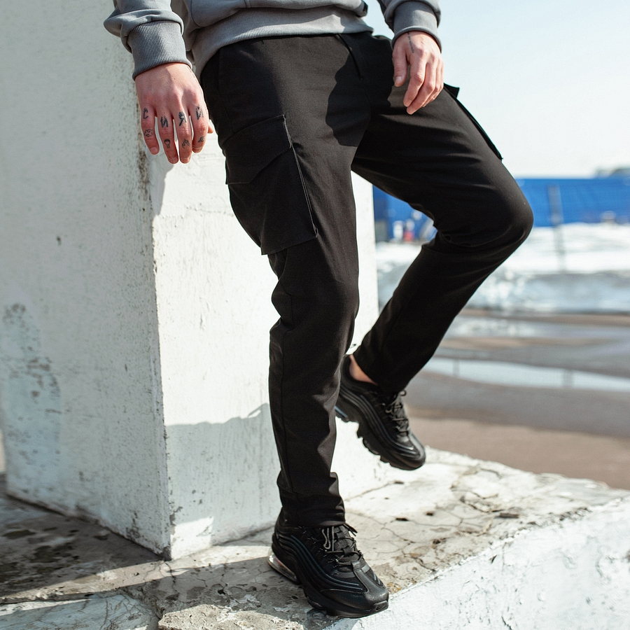 Карго штаны South black - фото 1