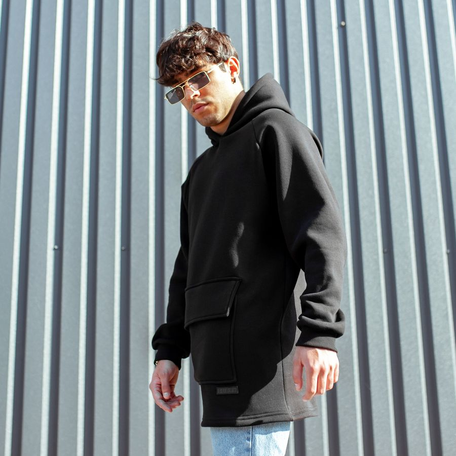 Худи South basic fleece black oversize  - фото 4