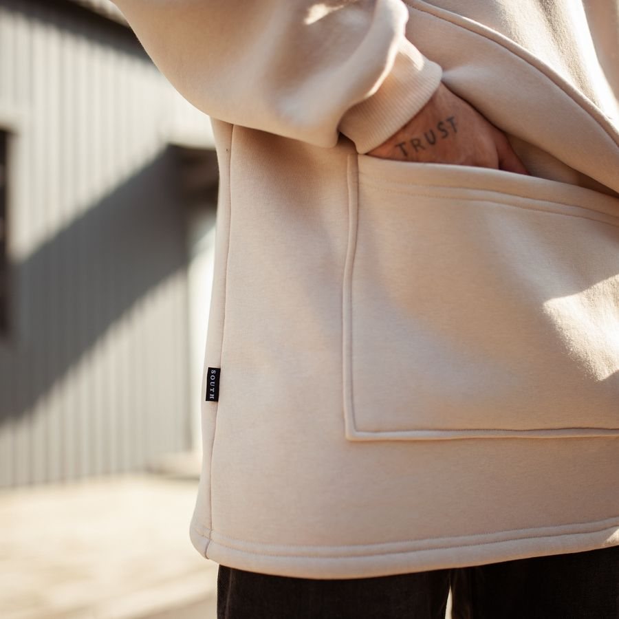 Худи South basic fleece beige oversize  - фото 5