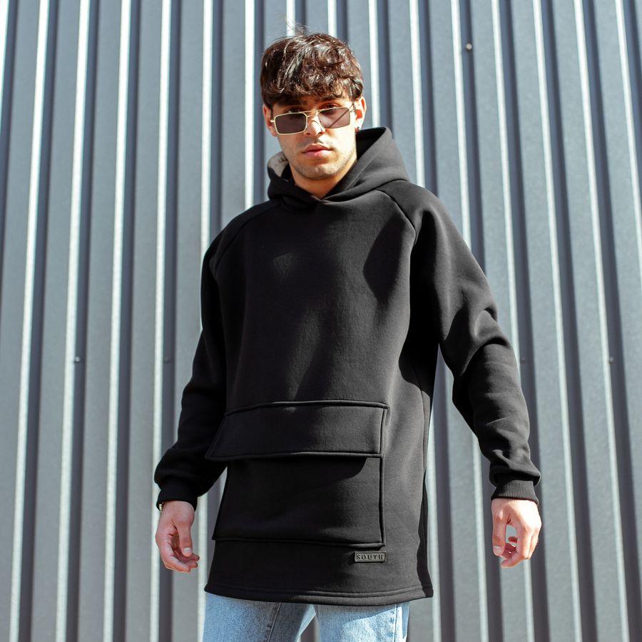 Худи South basic fleece black oversize