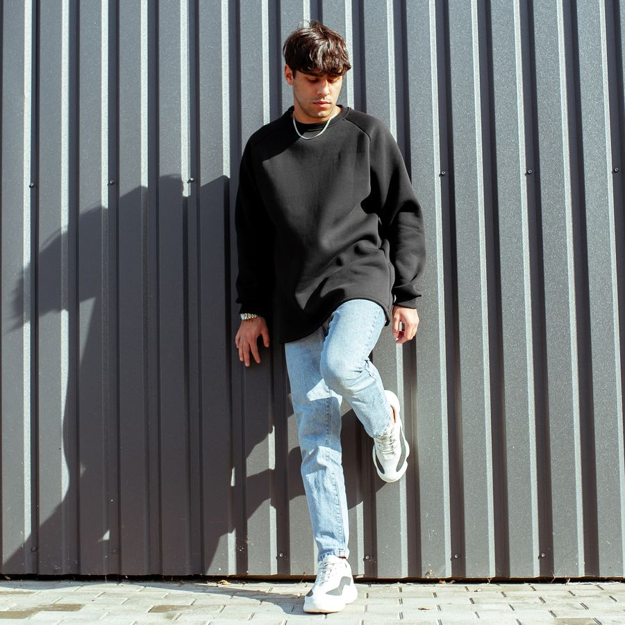 Свитшот South basic fleece black  oversize  - фото 4