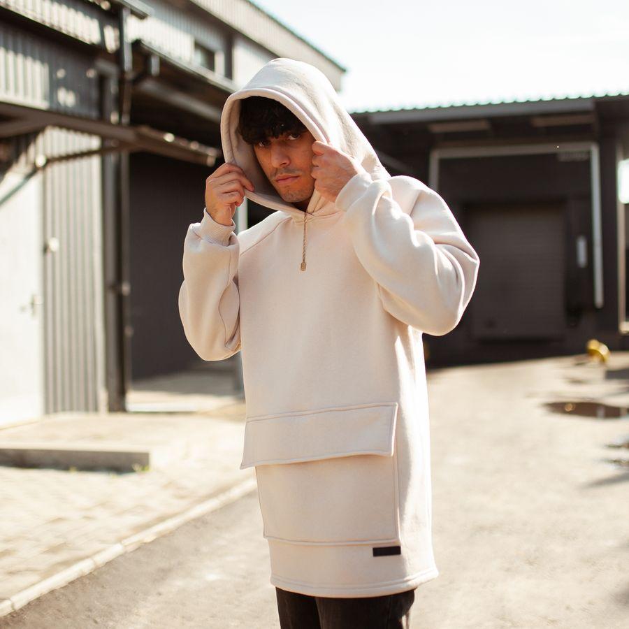 Худи South basic fleece beige oversize  - фото 1