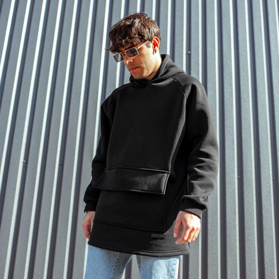 Худи South basic fleece black oversize  - фото 2