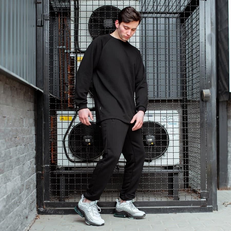 Спортивный костюм South Oversize  black (свитшот без манжета)