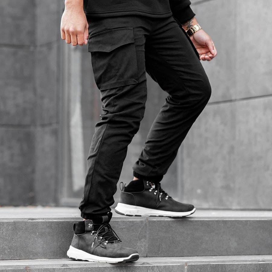 Теплые карго штаны South black