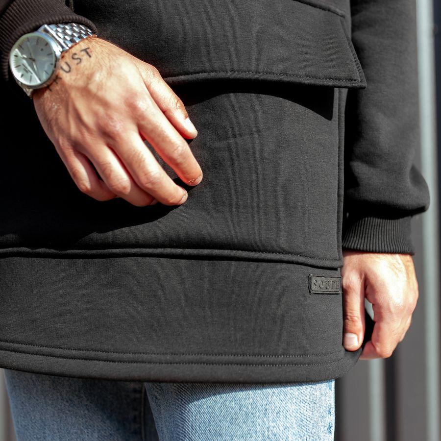 Худи South basic fleece black oversize  - фото 6