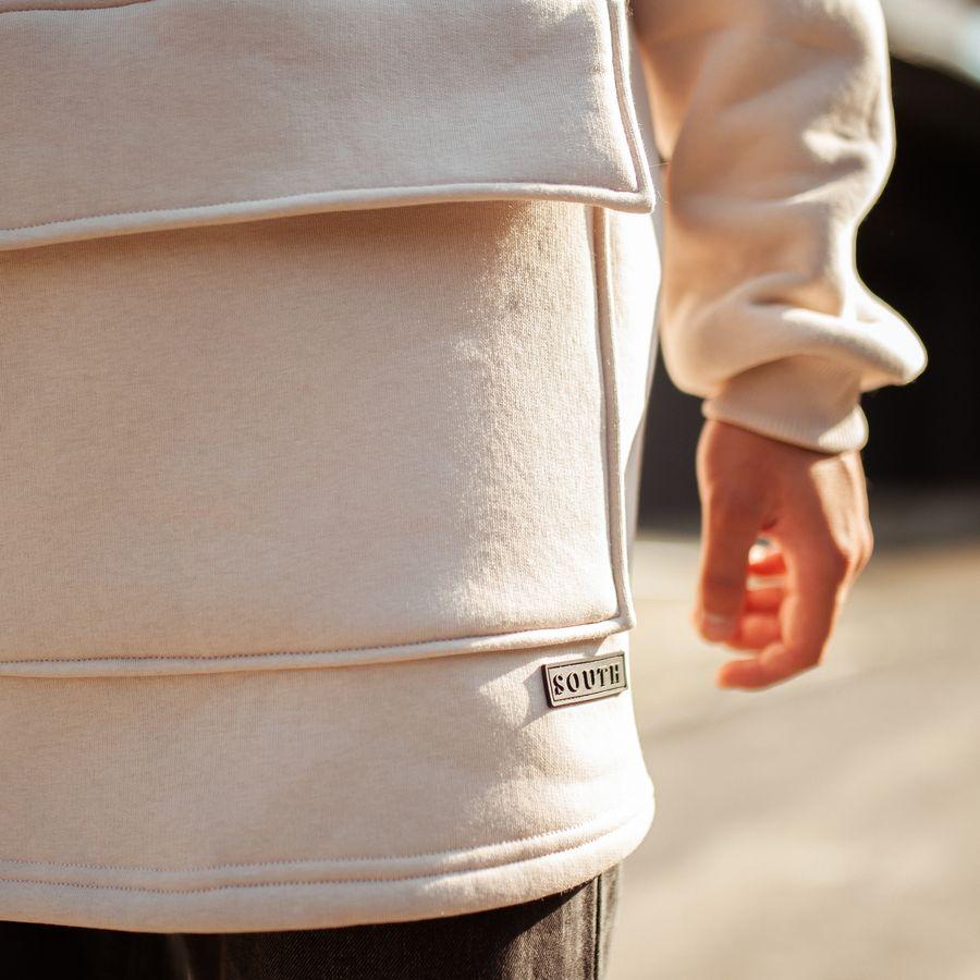 Худи South basic fleece beige oversize  - фото 6