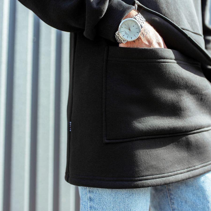 Худи South basic fleece black oversize  - фото 5