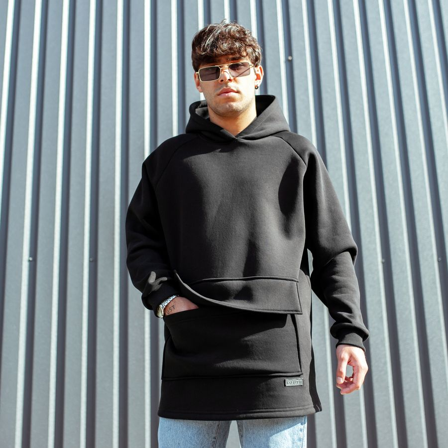 Худи South basic fleece black oversize  - фото 3