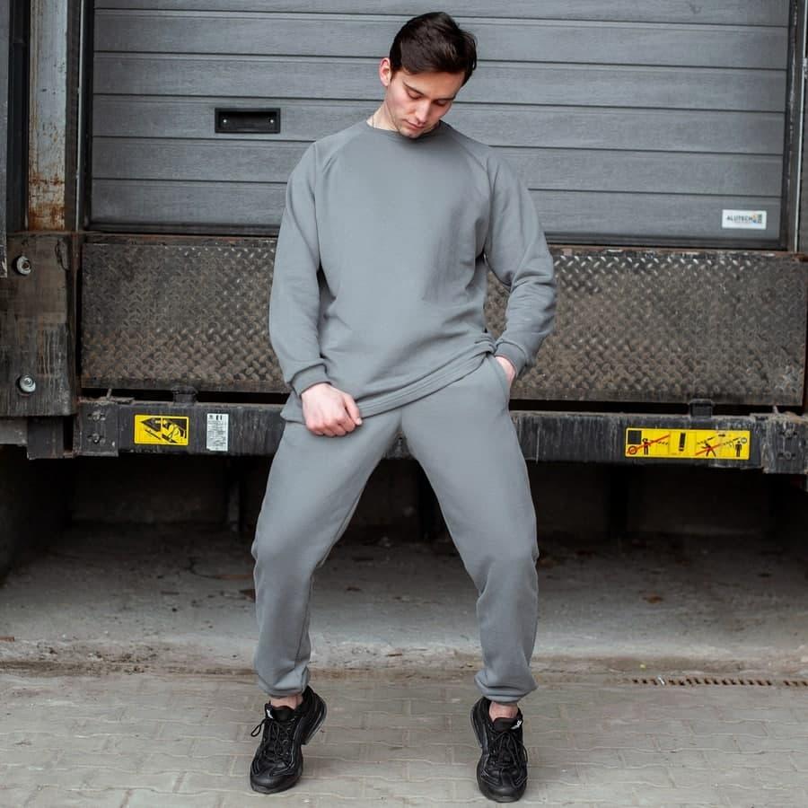 Спортивный костюм South Oversize  gray (свитшот без манжета) - фото 1