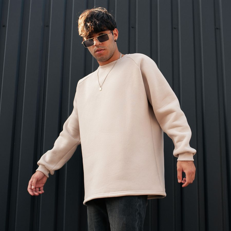 Свитшот South basic fleece beige oversize