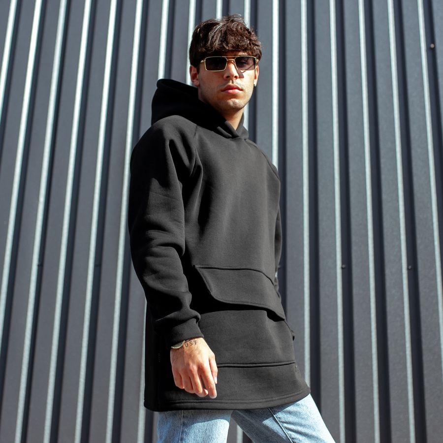 Худи South basic fleece black oversize  - фото 1