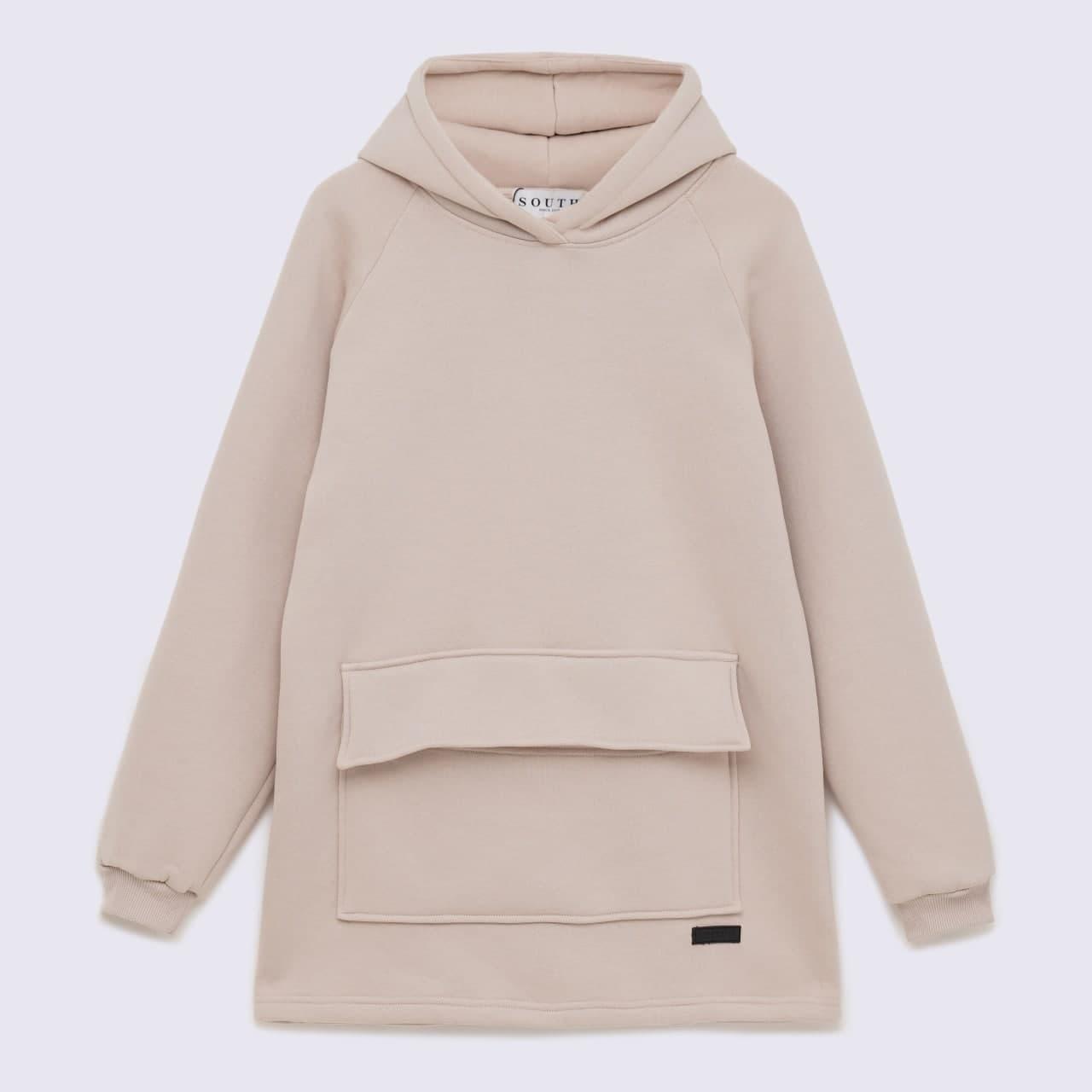 Худи South basic fleece beige oversize