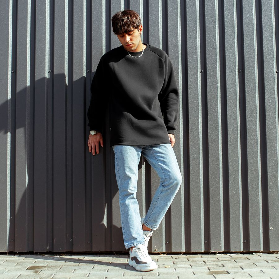 Свитшот South basic fleece black  oversize  - фото 3